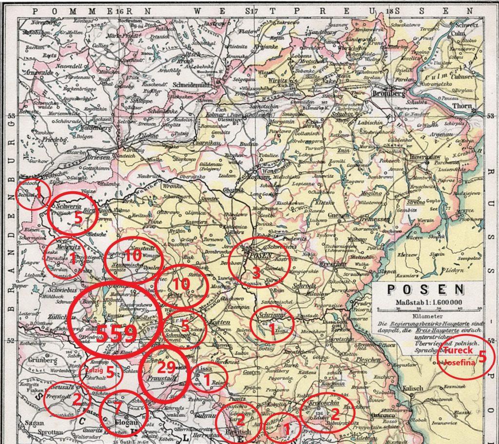 Die rot gekreisten Landkreise mit Anzahl Herkt vor 1900